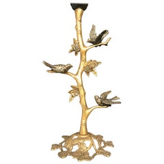 Arts & Crafts Style Gilt Bronze Birds, Bush and Flowers Table or Desk Lamp