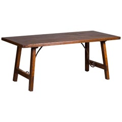 Antique French Oak and Iron Trestle Table from France, circa 1850