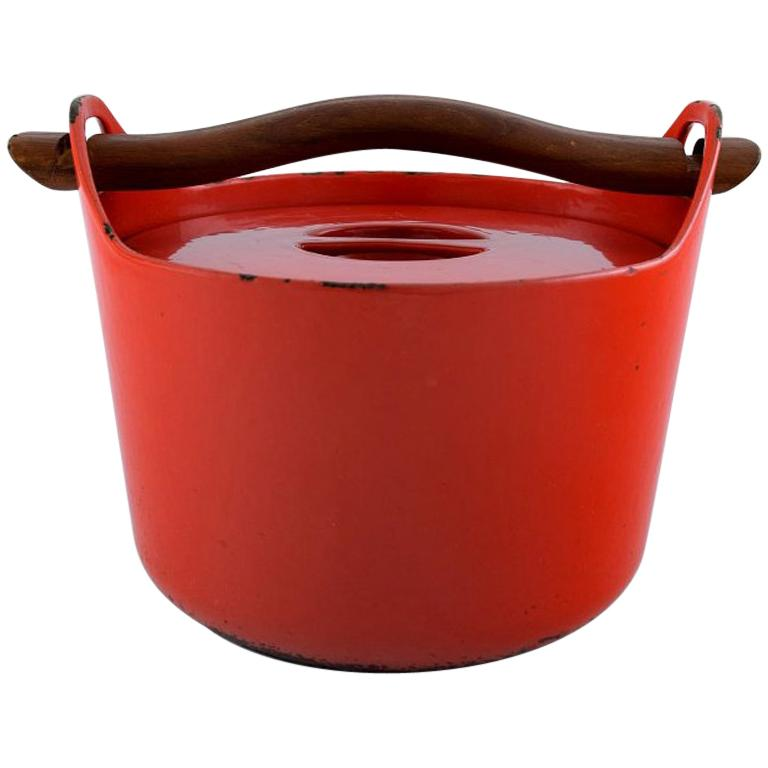 Sarpaneva for Rosenlew, Finland, Cast Iron Casserole in Red Enamel