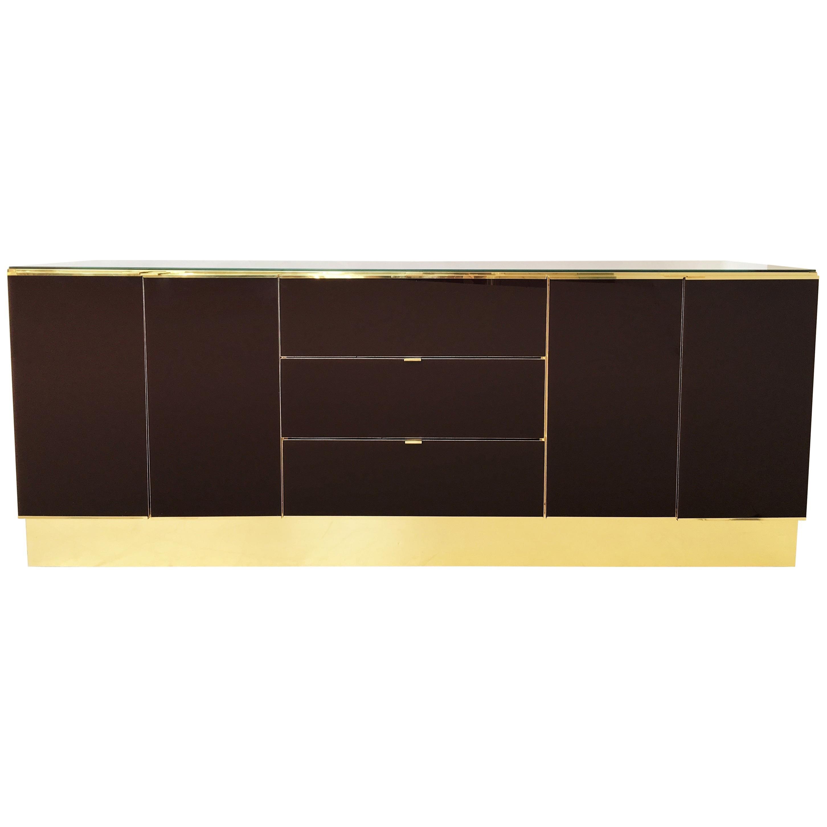 Glamorous Brass And Mirrored Dresser / Credenza By Ello Furniture