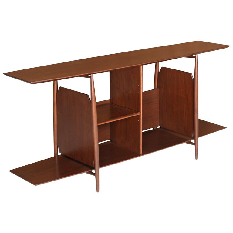 Mid Century Modern Two Tier Bookshelf For Sale