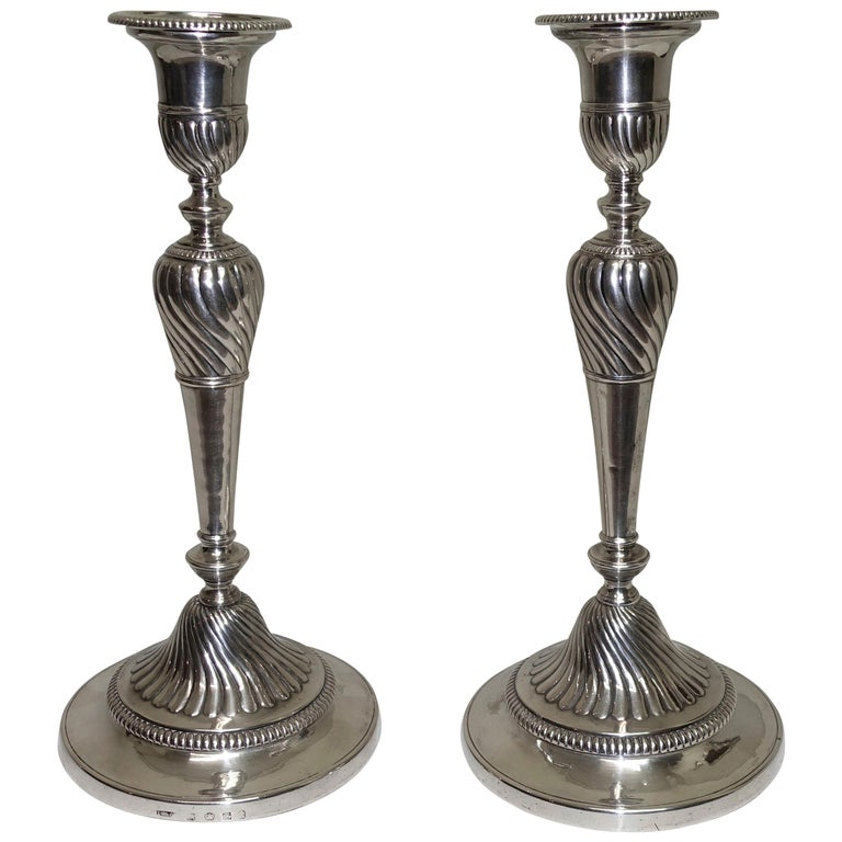 Pair of Sheffield George III Sterling Silver Candlesticks, English, circa 1800