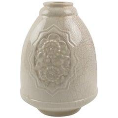 Art Deco 1930s Off-White Crackle Glaze Ceramic Vase by Saint Clement
