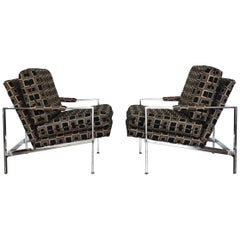 Pair of Milo Baughman Chrome Frame Lounge Chairs