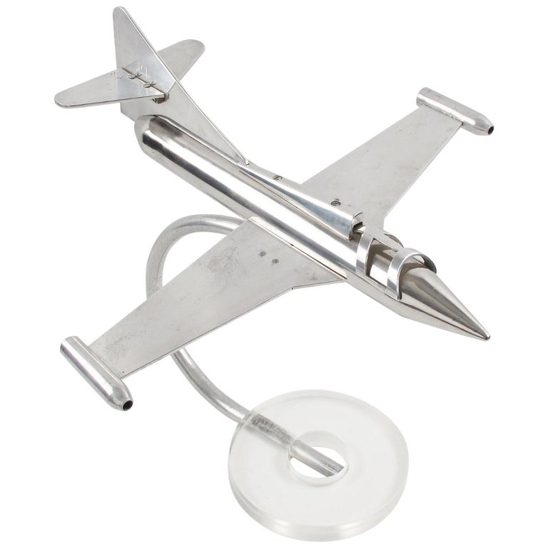 1970s Aluminum and Lucite Model Jet Plane Airplane