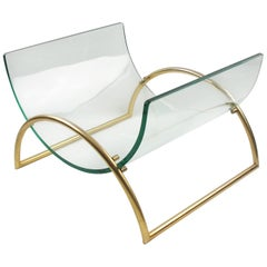 Italian Gallotti & Radice 1970s Curved Glass Gilt Aluminum Magazine Rack Holder