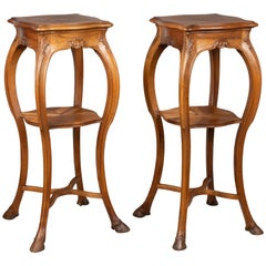 Pair of French Art Nouveau Sellettes or Tall Pedestals