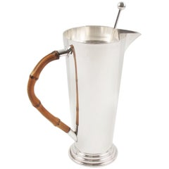 Silver Plate and Bamboo Barware Cocktail Martini Pitcher and Spoon