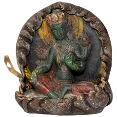 Antique Tibetan Amulet, Leather with Green Tara