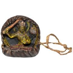 Antique Tibetan Amulet, Leather with Tara Holding Sword