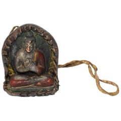 Antique Leather Tibetan Amulet with Buddha Teaching