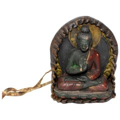 Antique Leather Tibetan Amulet, with Buddha in Protection Mudra