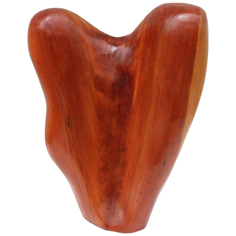 Mid-Century Modern Abstract Carved Wood Sculpture For Sale