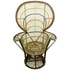 Large Vintage Bohemian Emmanuelle / Peacock Wicker Chair