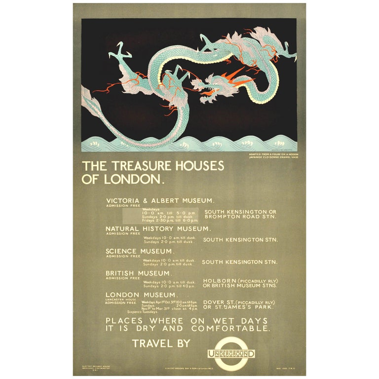 Original Vintage London Underground Poster The Treasure Houses of London Museums