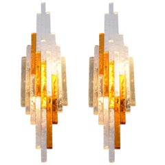 Pair of Poliarte Midcentury Italian Chiselled Glass Wall Light Sconces, 1960s