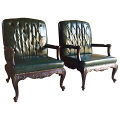 Magnificent Antique Leather Armchairs Library Chairs Pair, 18th Century Style