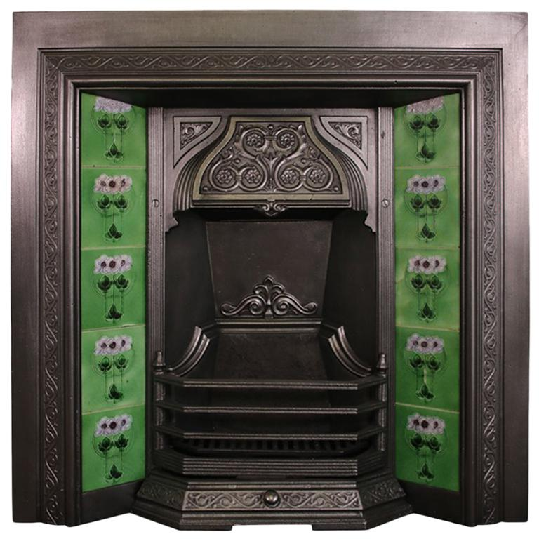 Antique Victorian Cast Iron and Tiled Fireplace Insert