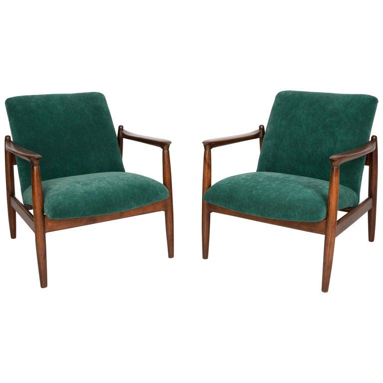 Pair of Dark Green Velvet Armchairs, Edmund Homa, 1960s