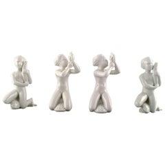 Harald Salomon for Rörstrand, Four White Glazed Figures of Sea Children