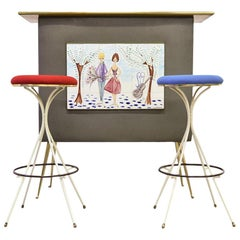 French Midcentury Dry Bar with Two-Bar Stools Signed C. de Savigny, 1950s