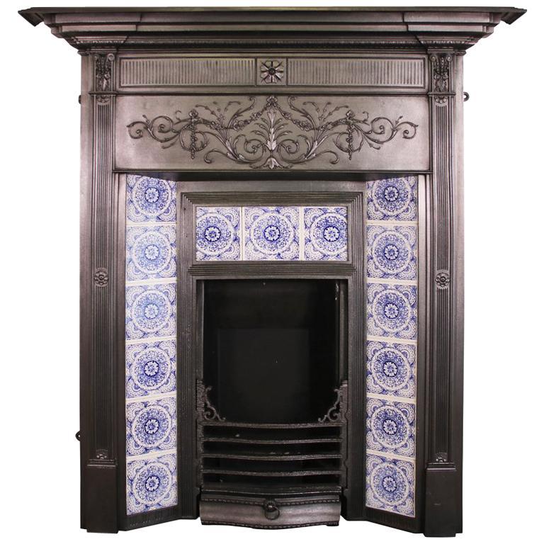 Antique Coalbrookdale Victorian Cast Iron Combination Fireplace