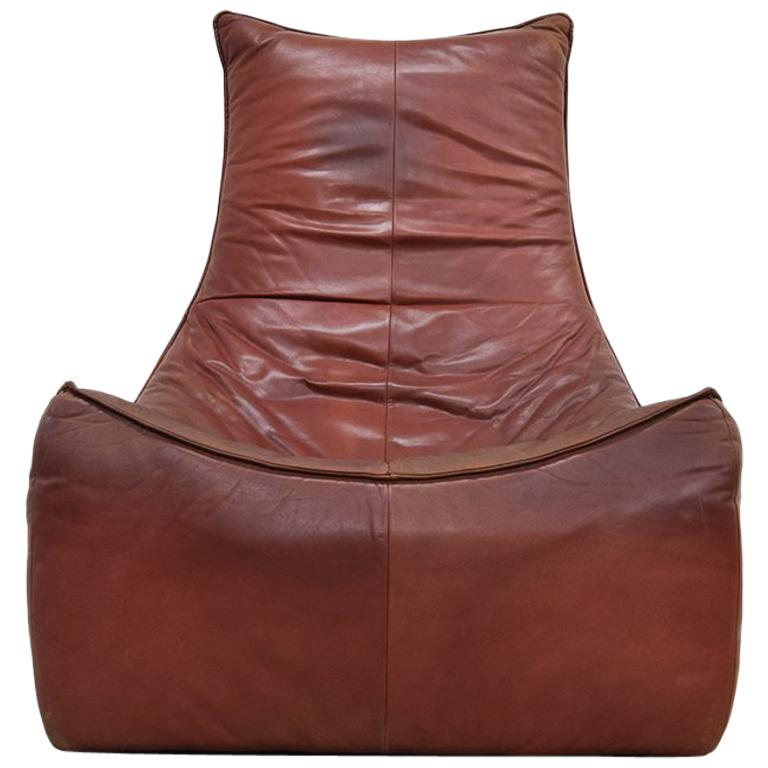 """""""The Rock"""" Leather Easy Chair by Gerard Van Den Berg for Montis, 1970s"""