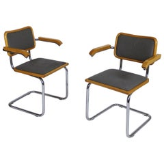 Pair of Grey Cesca Cantilever Armchairs by Marcel Breuer 1990s Made in Italy