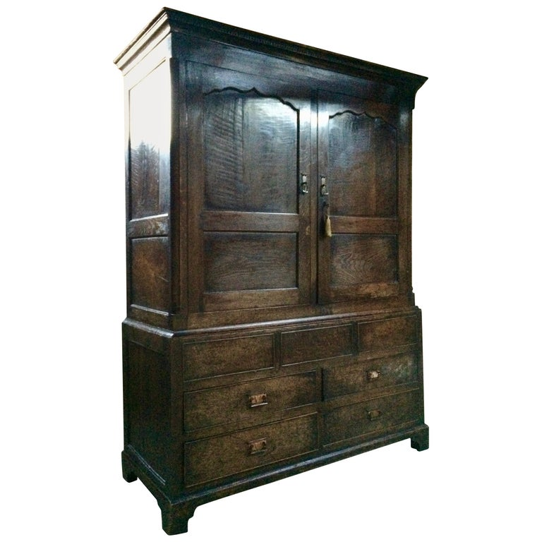 Antique Hall Cupboard Solid Oak Victorian 19th Century, circa 1890, Large