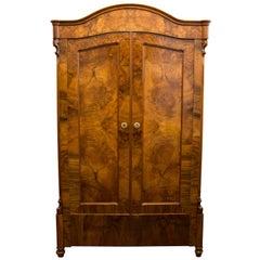 19th Century Louis Philippe or Late Biedermeier Small Walnut Wardrobe