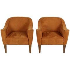 Pair of Josef Hoffmann Villa Gallia Style Tube Lounge Armchairs