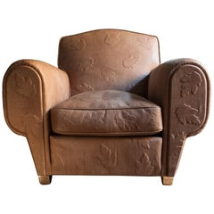 Contemporary Bas-Relief Full Grain-Leather, Club, Armchair