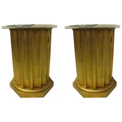 Pair of Classical Gilt Fluted Column Tables with Marble Tops Portugal