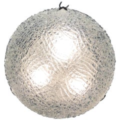 Midcentury Flush Mount by Limburg, Chrome and Textured Glass, circa 1960s