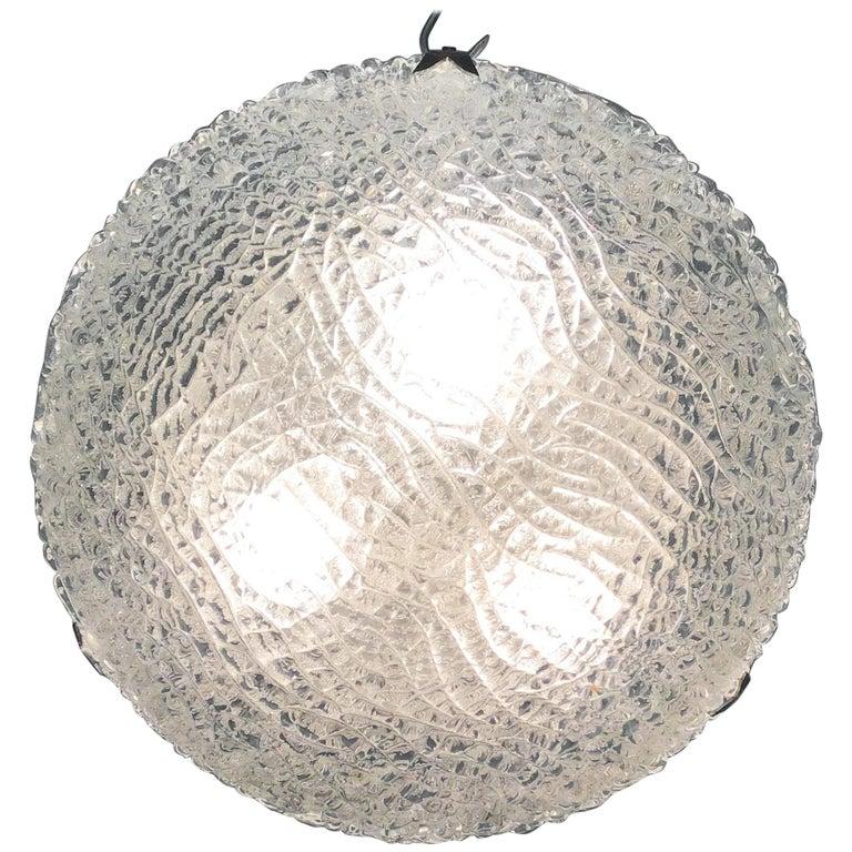 Midcentury Flush Mount by Limburg, Chrome and Textured Glass, circa 1960s