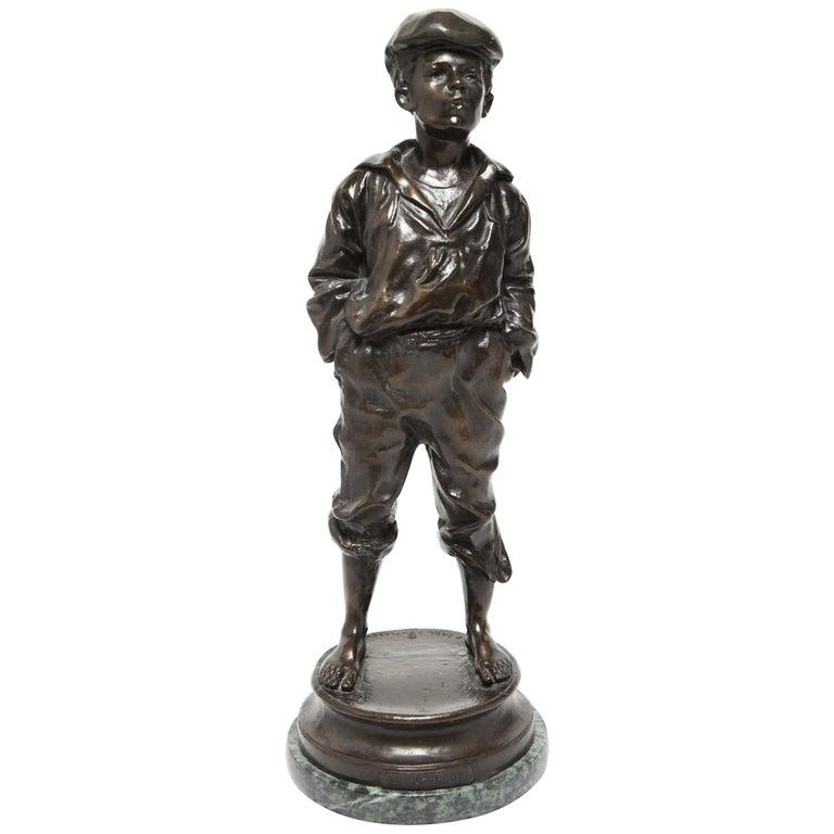 Belle Epoque Bronze Sculpture 'Le Siffleur' After Karl Kowalczewski