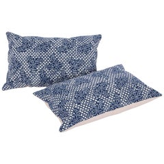 Contemporary Pillow Cases Made from a Resist Dyed Indigo Miao Fabric