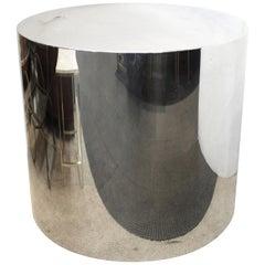Mid-Century Modern Chrome Drum Pedestal or Centre Table