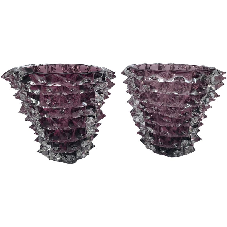 Pair of Signed Costantini, Purple Murano Glass Rostrati Vases