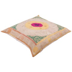 Giant Floor Pillow Made from a Traditional Mid-20th Century Samarkand Suzani