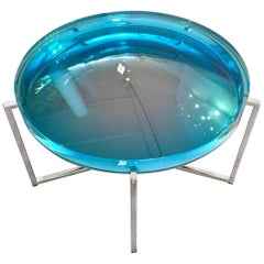 Contemporary Turquoise Resin 'Lens' Side Table