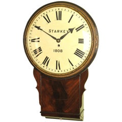 Large Early Convex Wooden Dial Clock