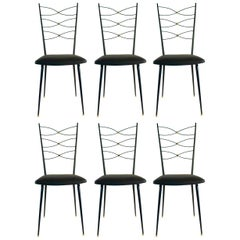 1950s Set of Six Wrought Iron Chairs