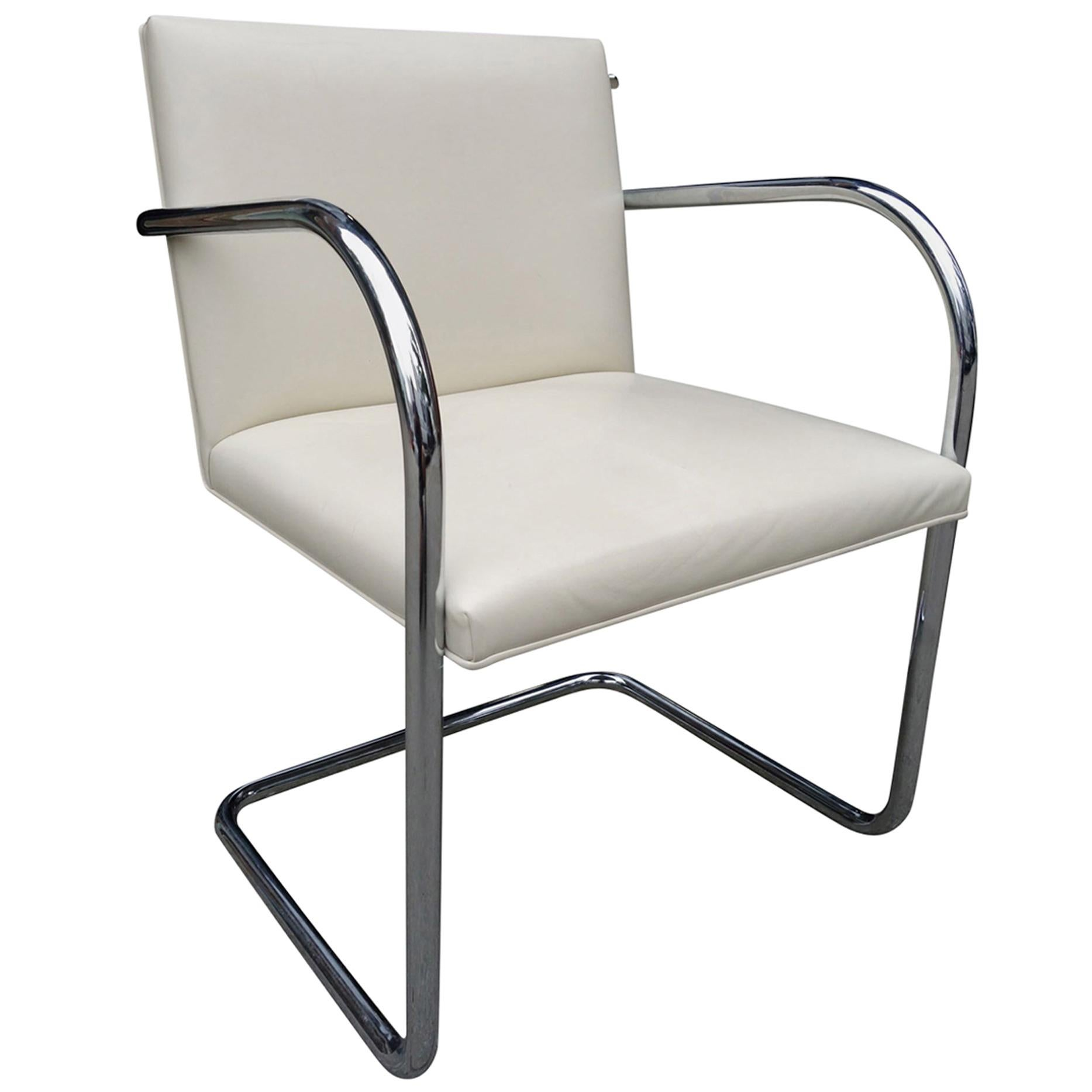 Midcentury Knoll Brno Chairs By Mies Van Der Rohe In White