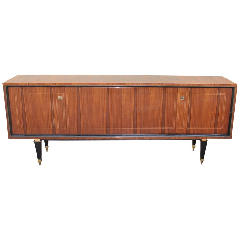 French Art Deco Exotic Macassar Bony Sideboard or Buffet, circa 1940s For Sale