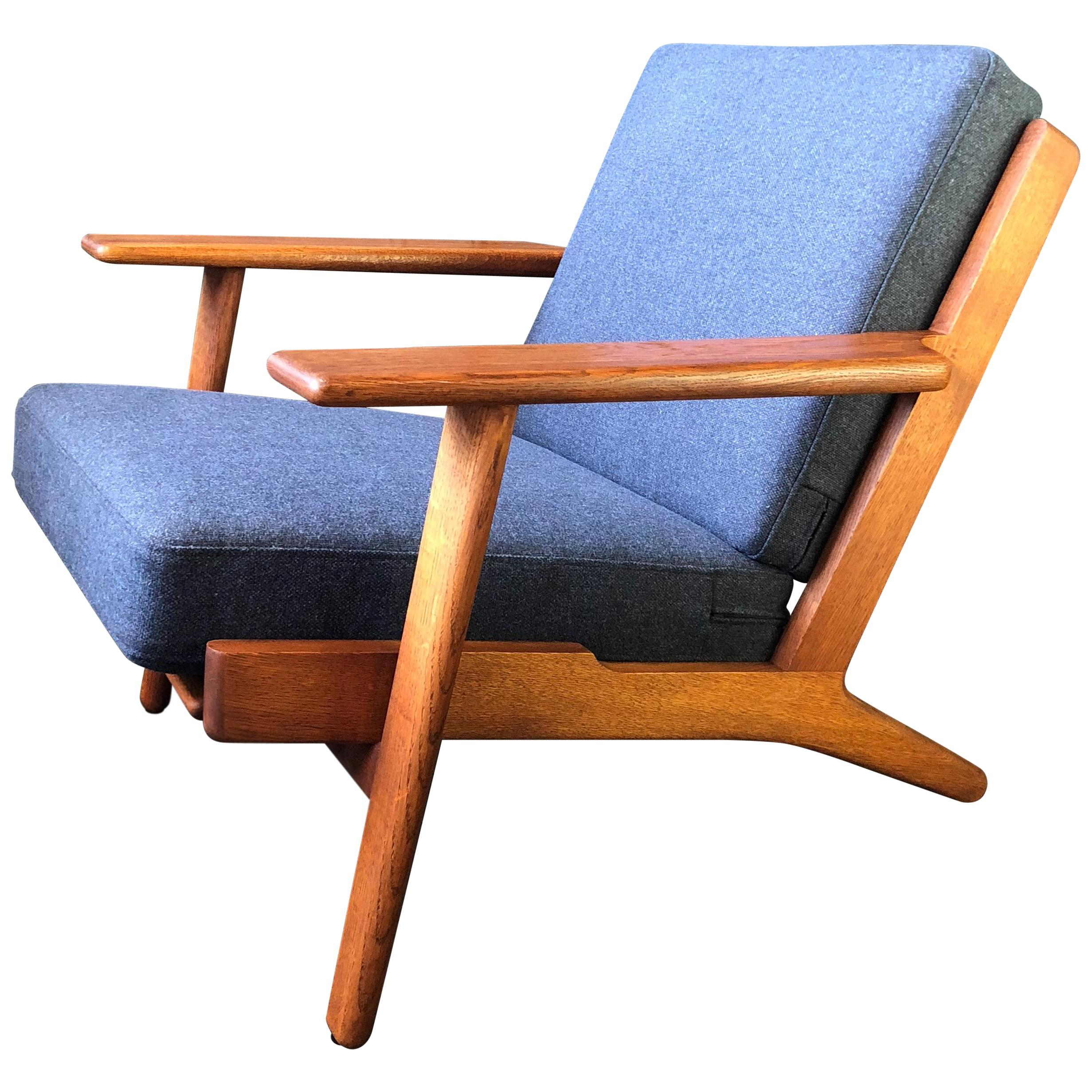 Hans Wegner Armchair, Ge290, 1950s, Fully Refurbished And Reupholstered