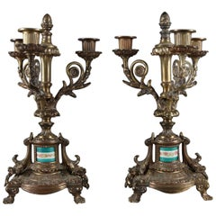French Louis XIV Style Bronzed Candelabra with Sevres School Porcelain