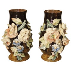 Pair of Lefront Gros Relief Barbotine Vases from France, Late 19th Century