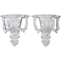 Pair of Painted White Brackets