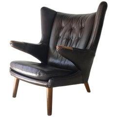 "Authentic Vintage Hans Wegner for AP Stollen ""Papa Bear"" Leather Lounge Chair"
